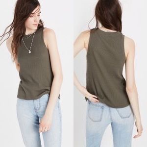 Madewell Olive Green Circuit ribbed tank top
